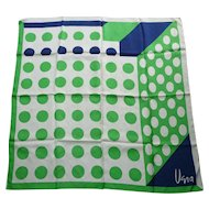 Vintage Vera Pop Art Big Dots Green Navy Blue White Silk Scarf