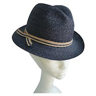 Exclusively For Lord & Taylor Navy Blue Straw Ladies Fedora Hat
