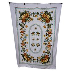 Golden Roses Green Leaves Blue Flowers Cocoa Brown Vintage Print Tablecloth