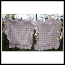 Pair Pine Cone Hill Fine Linens Ruffled Continental Shams Red and White Plaid