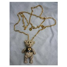 Boudoir Articulated Bear Rhinestone and Enamel Pendant on Chain Necklace