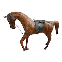 Vintage Chestnut Leather Toy Horse with Saddle