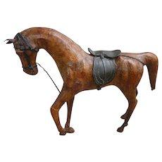 Vintage Chestnut Leather Toy Horse with Saddle