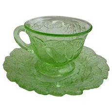 Avocado Pattern Green Cup and Saucer Indiana Glass