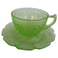 Cherry Blossom Pattern Green Cup and Saucer Jeannette Glass