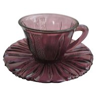 Tulip Pattern Amethyst Cup and Saucer Bell Glass