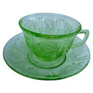 Sharon Pattern Green Cup and Saucer Federal Glass