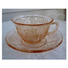Sharon Pattern Pink Cup and Saucer Federal Glass