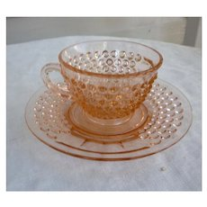 American Pioneer Pattern Pink Cup and Saucer Depression Glass Liberty Works