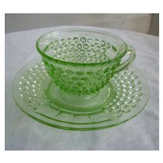 American Pioneer Pattern Green Cup and Saucer Depression Glass Liberty Works