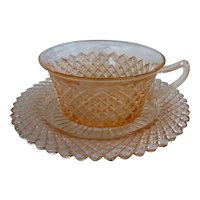 Miss America Pattern Pink Cup and Saucer Depression Glass Hocking Glass Company