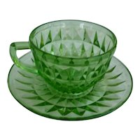 Windsor Pattern Green Cup and Saucer