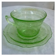 Patrician Pattern Green Cup and Saucer Depression Glass