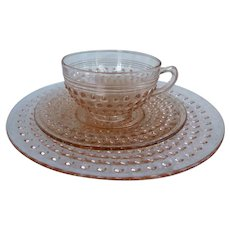 Hobnail Pattern Pink Cup and Saucer and Luncheon Plate Depression Glass Set Hocking Glass Company