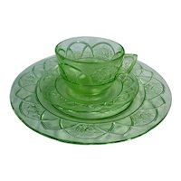 Rosemary Dutch Rose Pattern Green Cup and Saucer and Plate Depression Glass Set