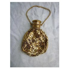 Whiting Davis Pouch Purse Reticule Accordion Cap Style Gold Tone Mesh Gate-top Beggars Bag