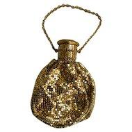 Whiting Davis Pouch Purse Reticule Accordion Cap Style Gold Tone Mesh Gate-top Beggars Bag