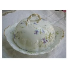 Pretty Purple Flowers Theo Limoges Dome Covered Cheese Dish