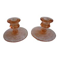 Pretty Pair Pink Depression Glass Candlesticks