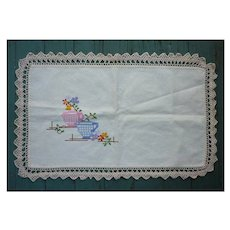 Embroidered Flowers in Vases Crochet Lace Edging Runner