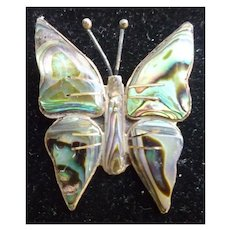 Silver and Abalone Butterfly Pin Brooch Handmade in Mexico SJB