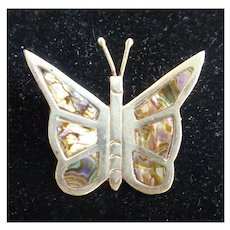 Silver and Abalone Inlay Butterfly Pin Brooch Handmade in Mexico