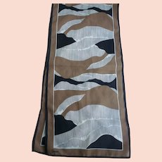 Vintage Vera Long Abstract Waves Print Scarf