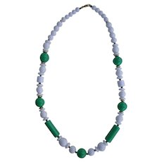 Green and White Hard Plastic Beads Necklace