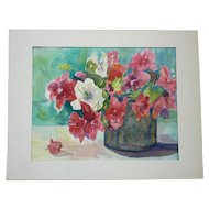 Red and White Petunias in Vase Watercolor Signed