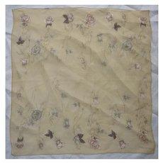 Vintage Halston Pastel Roses Print Sheer Silk Scarf
