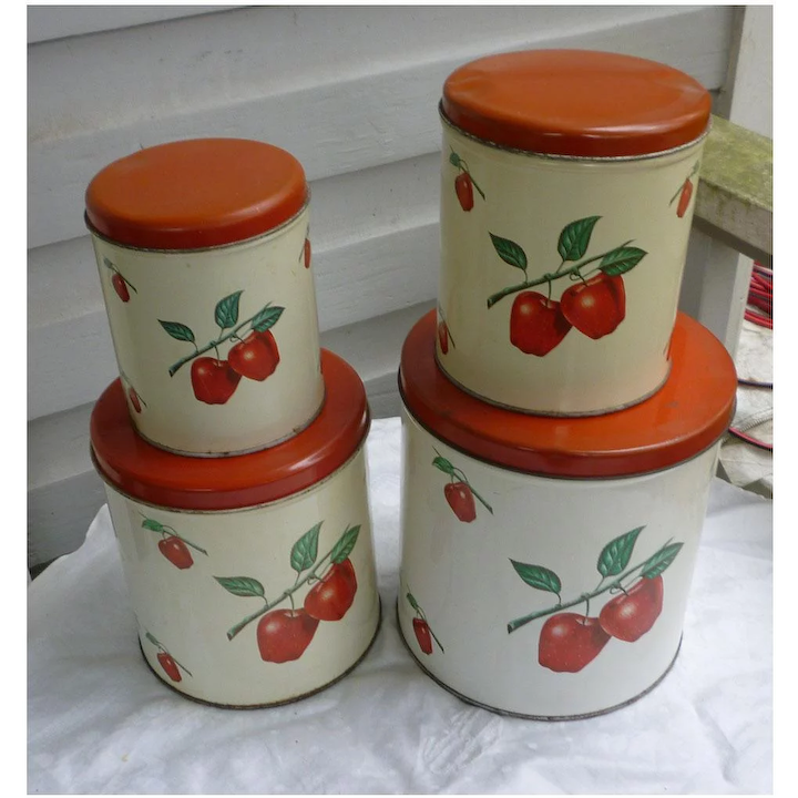 Decoware Red Roses Metal Kitchen Canister Set of Four