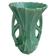 Large McCoy Green Double-Handle Reed Strap Art Pottery Vase