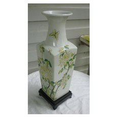Large Yellow Chrysanthemums Oriental Vase with Pedestal D. H. Holmes Co Ltd