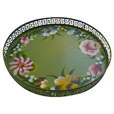 Jade Green with Flowers Tole Painted Round Tray