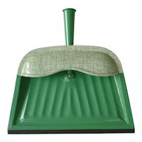 Vintage 40's 50's Green and Cream Metal Dustpan