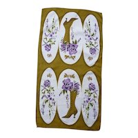 Purple Flowers Old Fashioned High Ladies Boots Vintage Dish Towel Signed