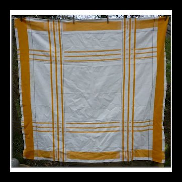 Yellow White and Black Geometric Woven Tablecloth