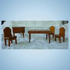 5 Piece Dining Room Set Strombecker and Kage Dollhouse Furniture 3/4 Scale