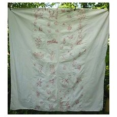 Redwork Penny Square Embroidered Child's Coverlet