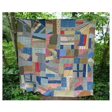 Geometric Crazy Quilt Top 1900's Cotton Fabrics