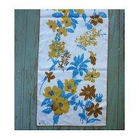Vintage Vera Turquoise and Brown Flowers Print Scarf