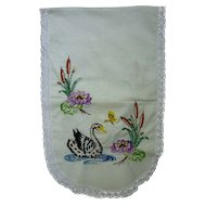 Embroidered Swans Cattails and Water Lilies Lace Trimmed Runner