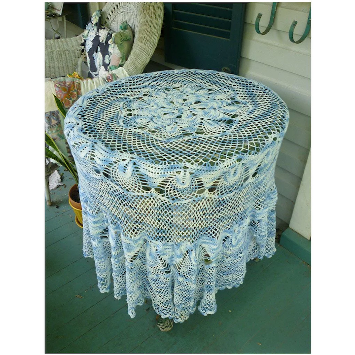 Beautiful Blue And White Hand Crochet Round Tablecloth Chez