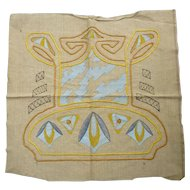Unusual Sky Blue Stencil Golden Yellow Copper Brown Arts & Crafts Embroidery Linen Piece to Finish