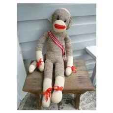 Vintage Hand Made Rockford Red Heel Sock Monkey Max