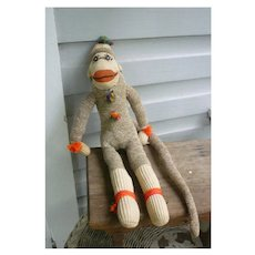 Vintage Hand Made Rockford Red Heel Sock Monkey Yazzi