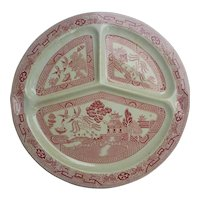 """Vintage Pink Willow Divided Compartment Plate 10"""" Made in France Reg #712950"""