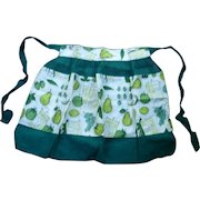 Fruit and Vegetables Recipes Print and Sheer Green Fancy Apron