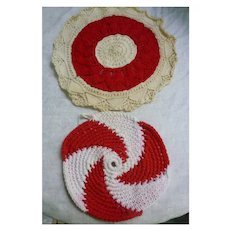 Red and White Crochet Potholder and Doily Group