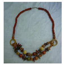 Colorful Hippie Boho Chic Wooden Beads, Rings and Shapes Necklace